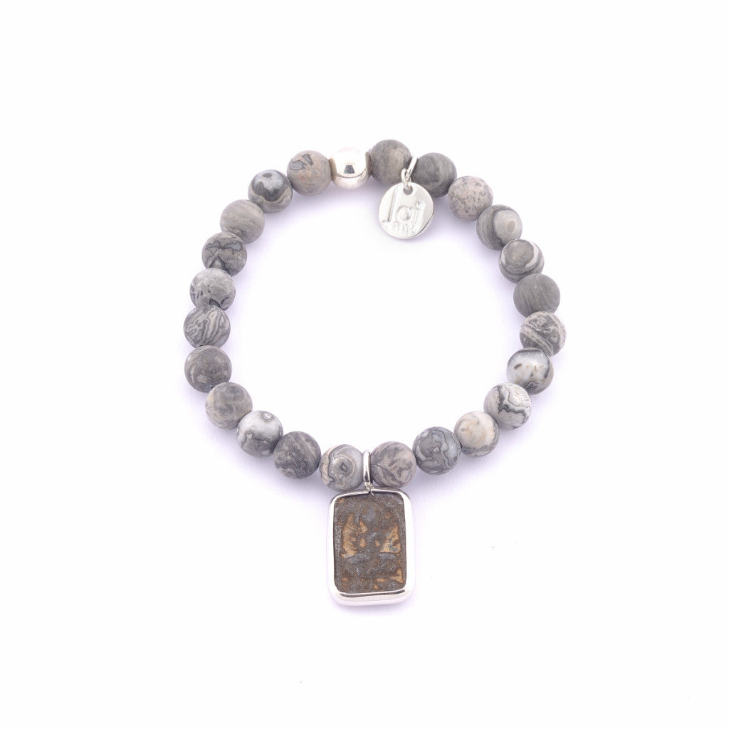 Jai Style Bracelet | Matte Grey Map Semi-Precious Stones with Sterling Silver Bead and Authentic Thai Amulet