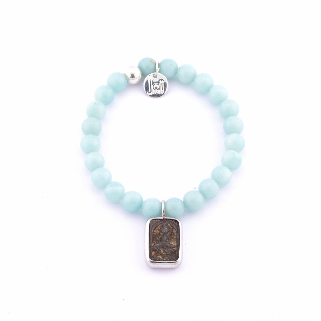 Jai Style Bracelet | Polished Blue Amazonite Semi-Precious Stones with Authentic Thai Amulet