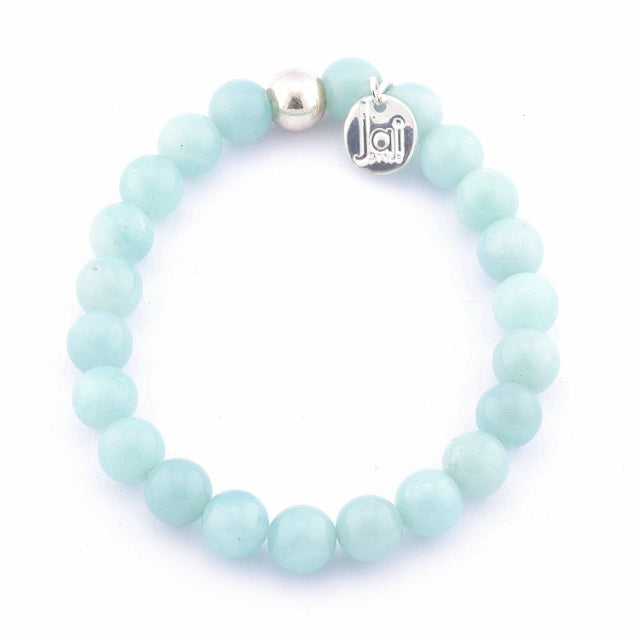 Blue Amazonite Bracelet with Silver Ball Bead