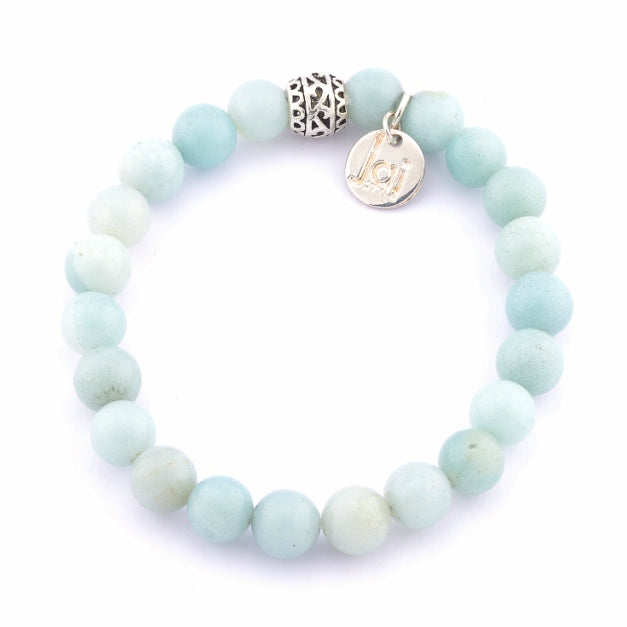 Blue Amazonite Bracelet with Tibetan Drum Bead