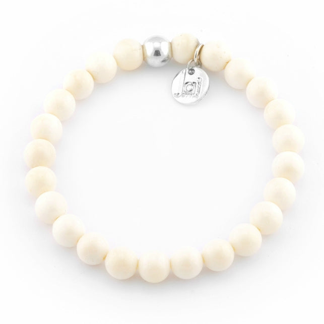 Cream Bone Bracelet with Silver Ball Bead