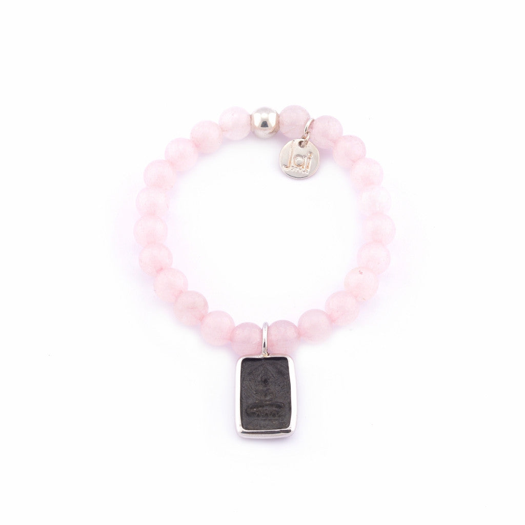 Jai Style Bracelet | Polished Rose Quartz Semi-Precious Stones with Sterling Silver Ball Bead and Authentic Thai Amulet