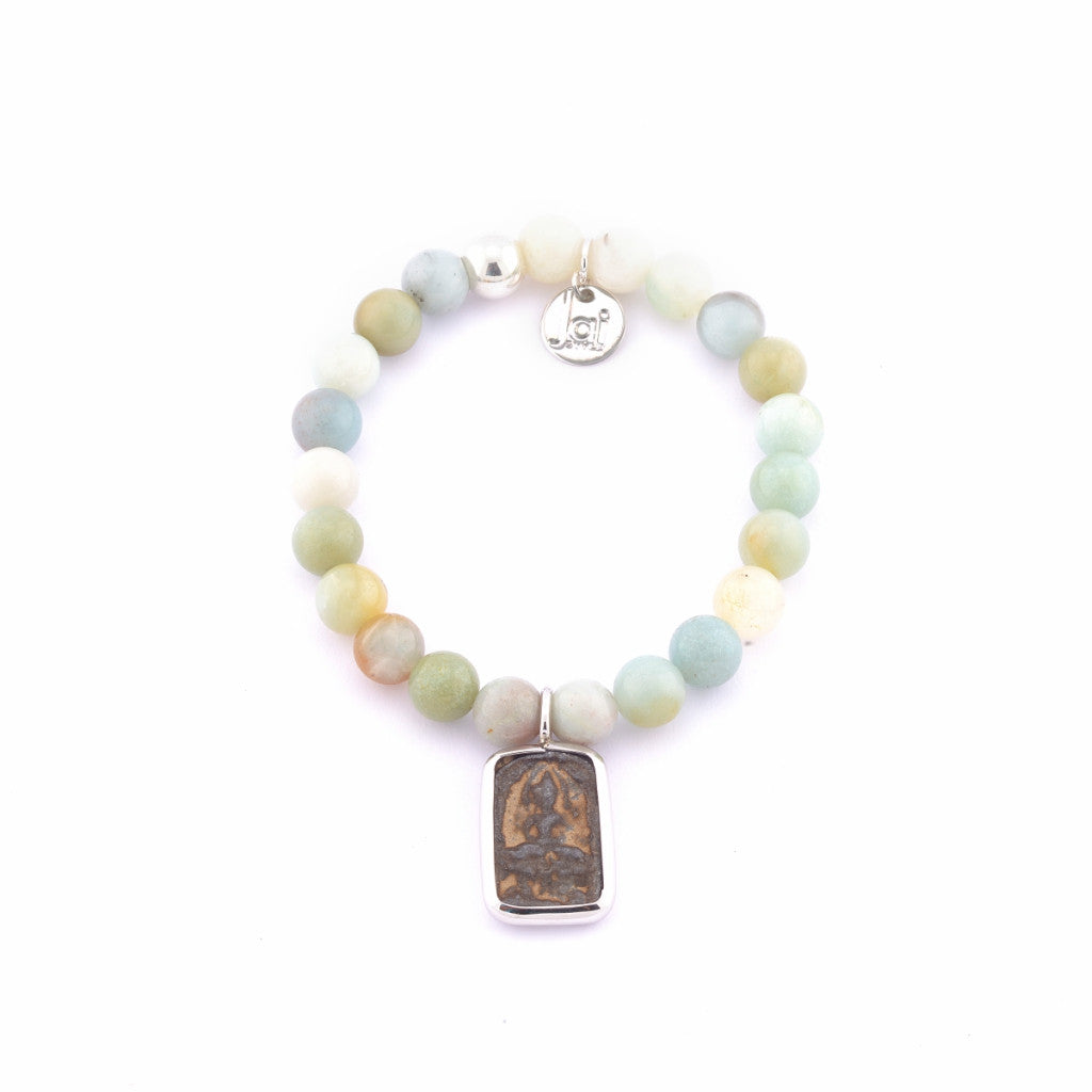 Jai Style Bracelet | Black Amazonite Semi-Precious Stones with Authentic Thai Amulet