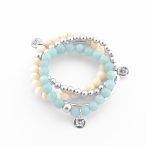 Jai Style Bracelet Stack | Polished Blue Amazonite Semi-Precious Stones, Polished Cream Bone, Sterling Silver Ball Bead, Sterling Silver Bangle