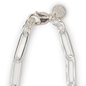 "Jai Style simple, elegant, 24"" handmade solid sterling silver paper clip chain necklace with Jai Style embossed charm."