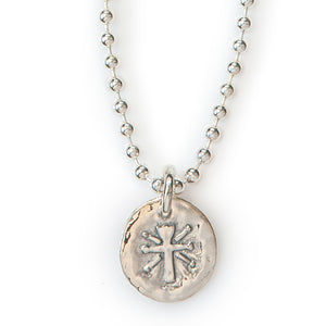 "Jai Style simple, elegant 18"" necklace with .925 sterling silver 4mm ball chain and handmade lotus cross pendant."