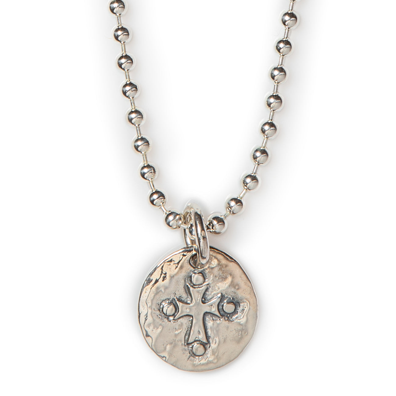 "Jai Style simple, elegant 18"" necklace with .925 sterling silver 4mm ball chain adorned with handmade sterling silver cross pendant."