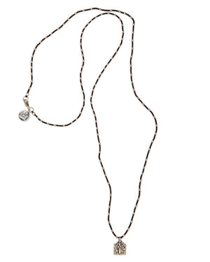 Twisted Silk Necklace, 108 Sterling Silver Beads & Goddess Pendant