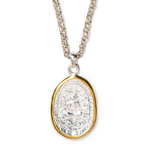 "Beautiful 18"" sterling silver round box-link chain with 22K gold-wrapped sterling silver authentic Thai amulet pendant."