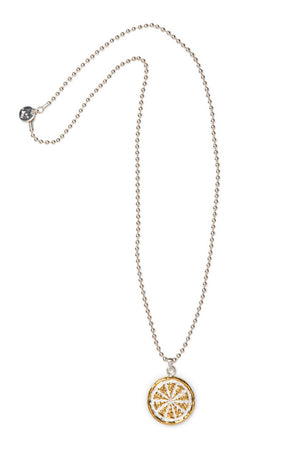 "Jai Style simple, elegant 24"" necklace with .925 sterling silver 3mm ball chain and handcrafted sterling silver and 22K gold dharma wheel pendant."