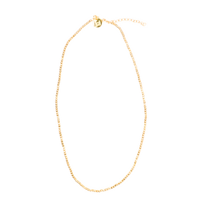 "Jai Style simple, elegant handmade Gold Bead Necklace in 22K gold vermeil, has gold vermeil lobster clasp and hand-pressed Jai Style charm; 14"" with 2"" extender. Beautiful for layering with our gold Traditional Thai Amulets, gold Paper Clip Chain necklaces, and Freshwater Pearl collection."