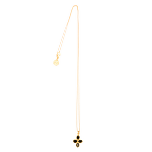 Beautiful flower pendant in faceted black spinel, 22K gold vermeil on gold small ball chain necklace with lobster clasp and hand-pressed Jai Style charm. Wear it for beauty and purpose. Spinel is a powerful healing stone; it is protective and grounding and helps you stay calm.