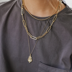 "Jai Style simple, elegant, 24"" handmade thick paper clip chain necklace in 22K gold vermeil with lobster clasp and hand-pressed Jai Style charm. Makes a bold style statement on its own and is perfect for layering."