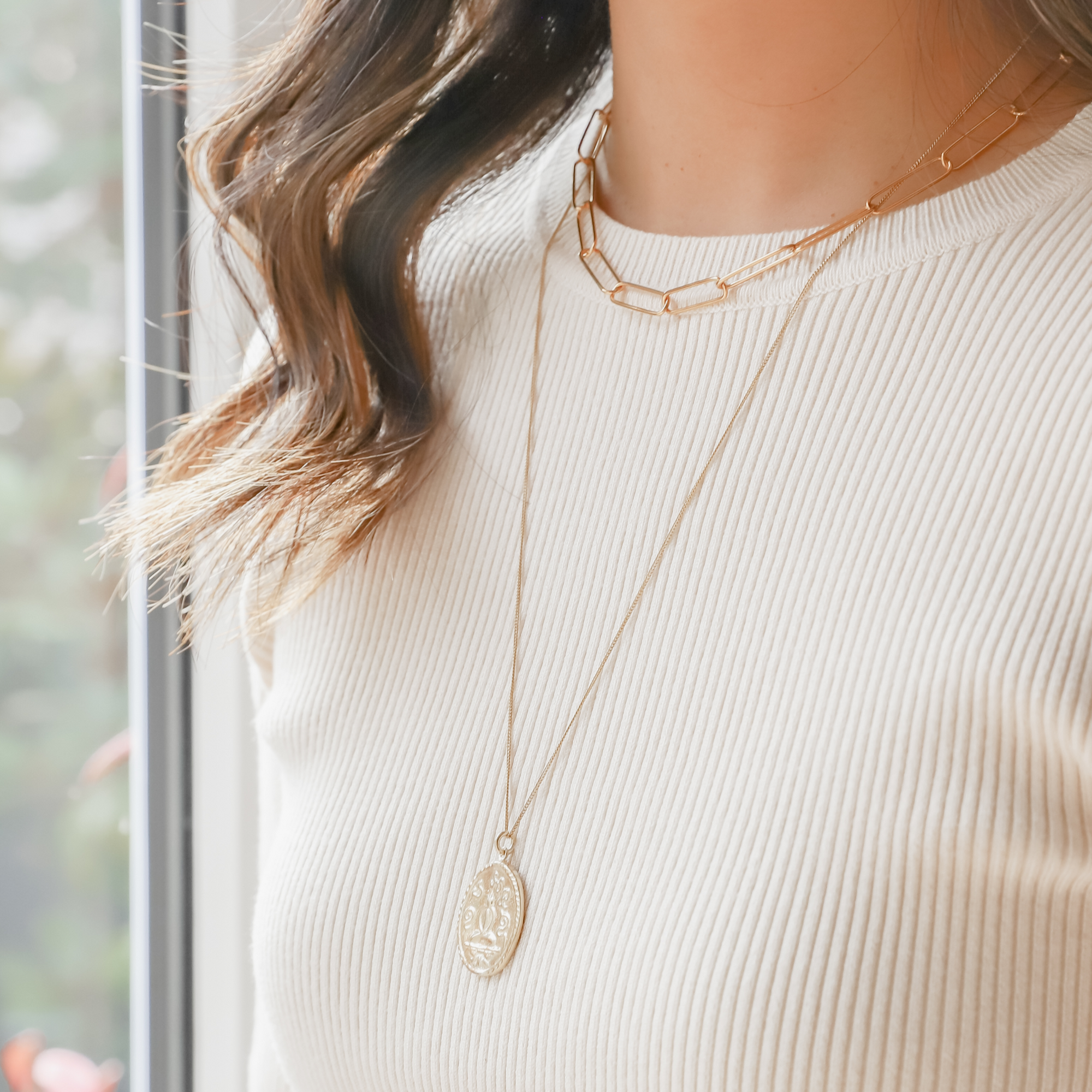 "Simple, elegant, handmade fine paper clip chain necklace in 22K gold vermeil is 14.5"" with 2"" extender; features lobster clasp and hand-pressed Jai Style charm. Makes a bold style statement on its own and is perfect for layering."