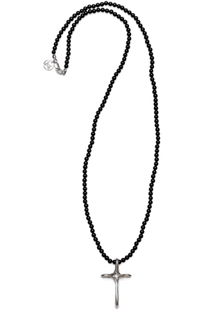 "Beautiful 28"" Jai Style necklace with 4mm matte black onyx semi-precious stones and sterling silver infinity cross"