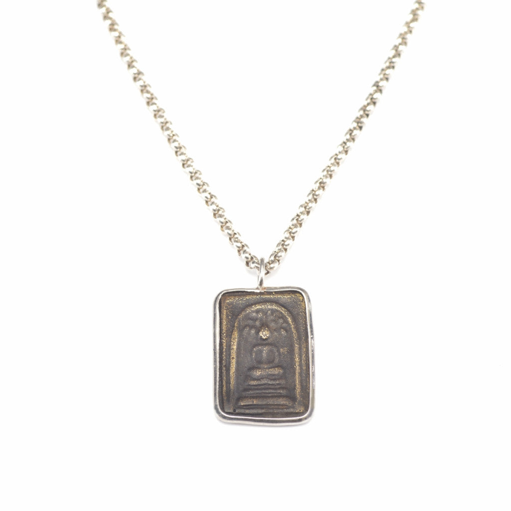 "Jai Style Necklace | 30"" Sterling Silver Round Box Link Chain with Authentic Thai Rectangle Amulet"