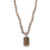 Faceted Grey Agate Necklace with Authentic Thai Rectangle Amulet