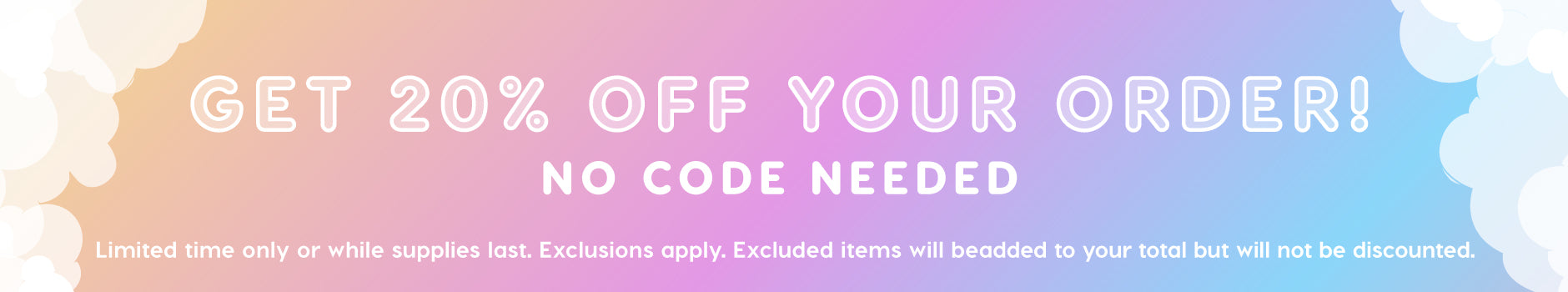 20$ Off Sitewide Exclusions Apply