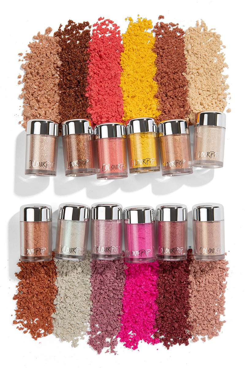 Colourpop Loose Pigment Collection highly concentrated loose pigments deliver intense colour and shine
