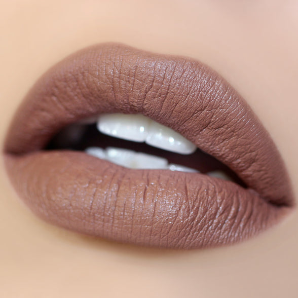 Pillow Talk nude brown Matte X Lippie Stix swatch