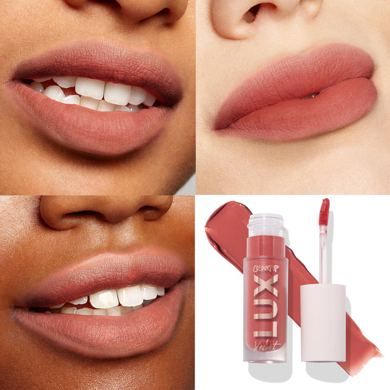 Air Kiss midtone red coral Lux Liquid blotted matte lipstick lip swatches