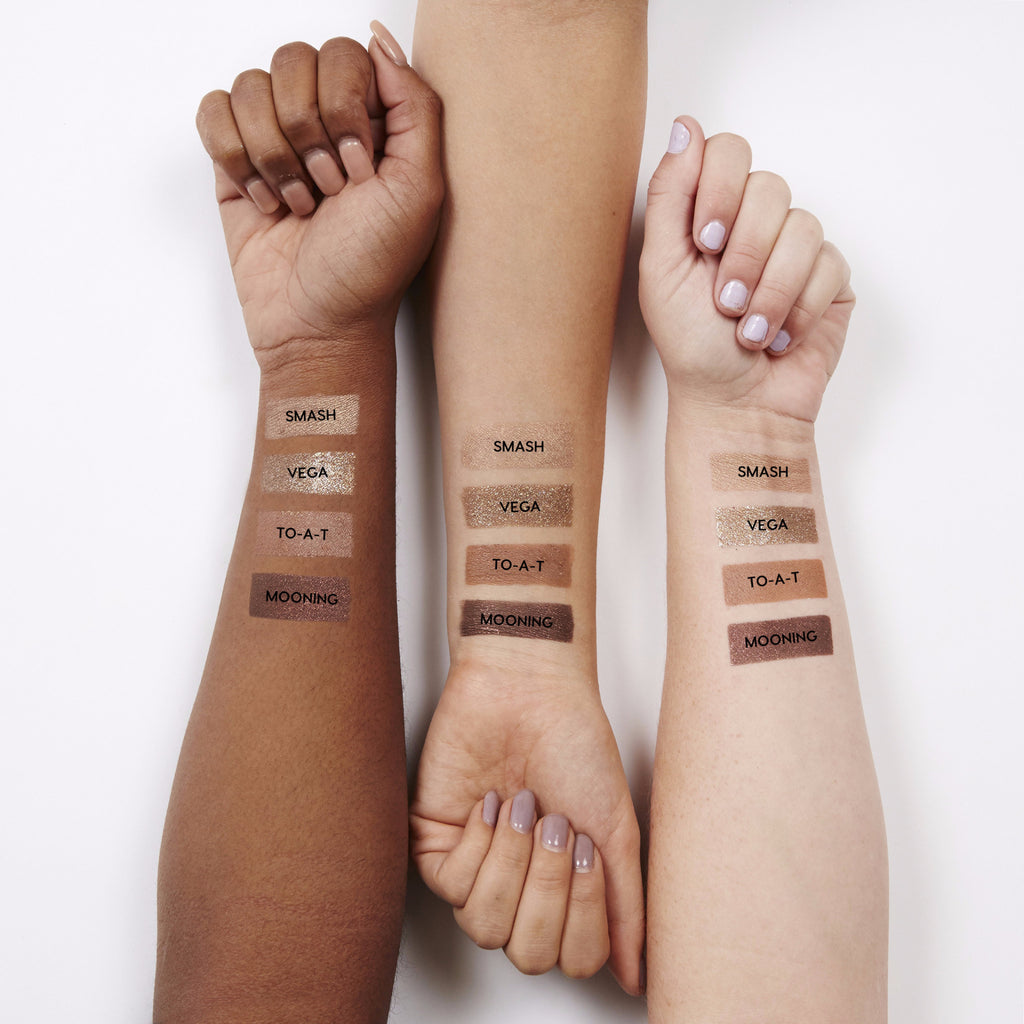 Swatches for our All Nighter set, which includes Smash, Vega, To-a-T, and Mooning eye shadows.