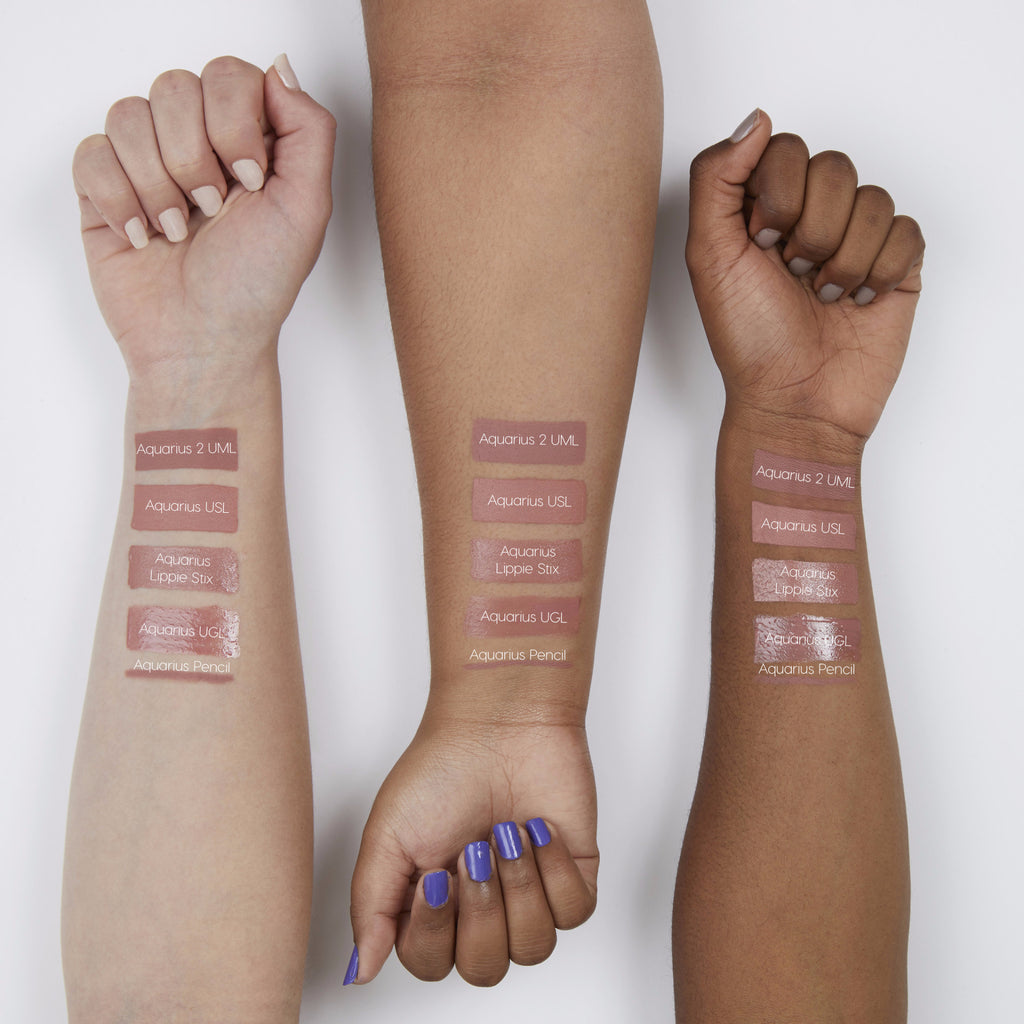 Kathleen Lights Aquarius Bundle includes soft pinky nude Aquarius Ultra Glossy Lip, soft pinky nude Aquarius Ultra Satin Lip, and mauvey nude Aquarius 2 Ultra Matte Lip swatches