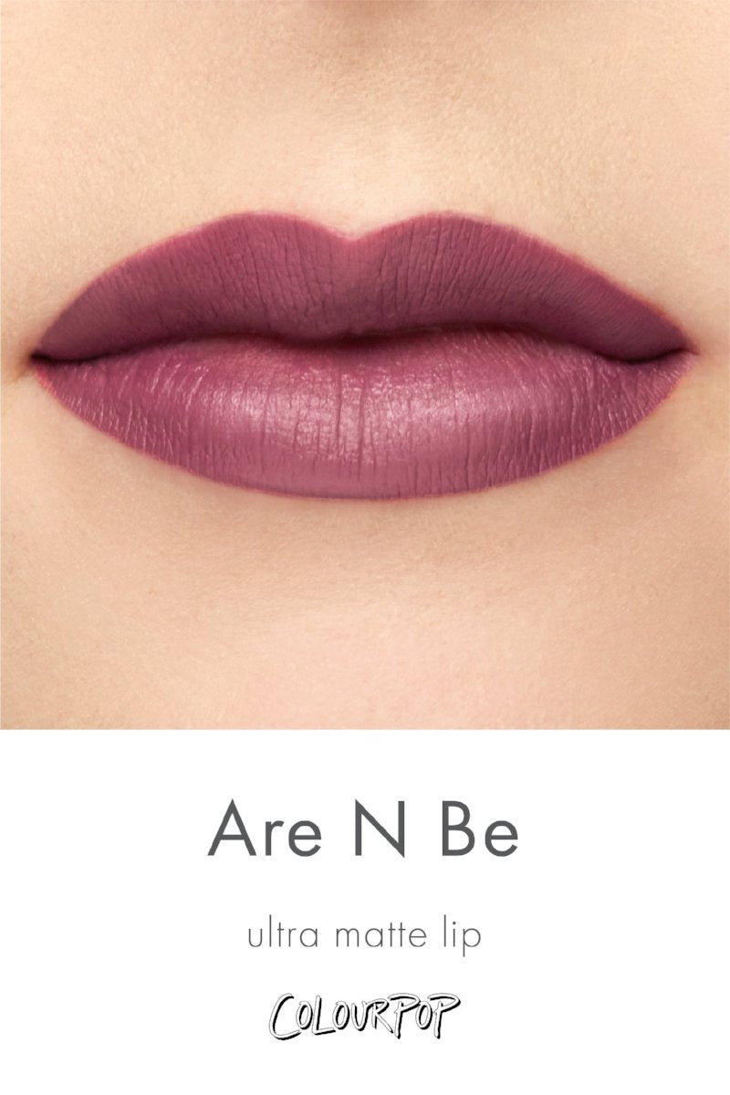 Team Are N Be rich mauve Ultra Matte Lipstick swatch on fair skin