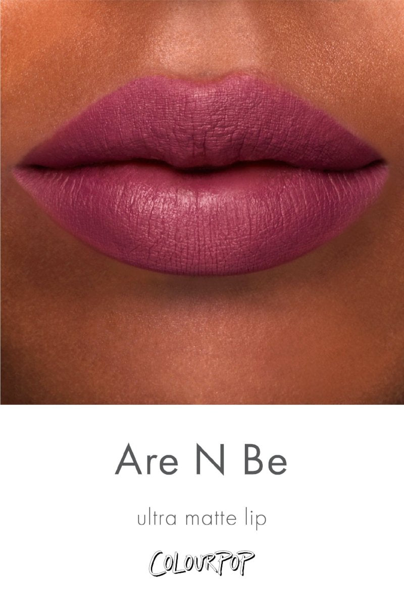 Team Are N Be rich mauve Ultra Matte Lipstick swatch on deep skin