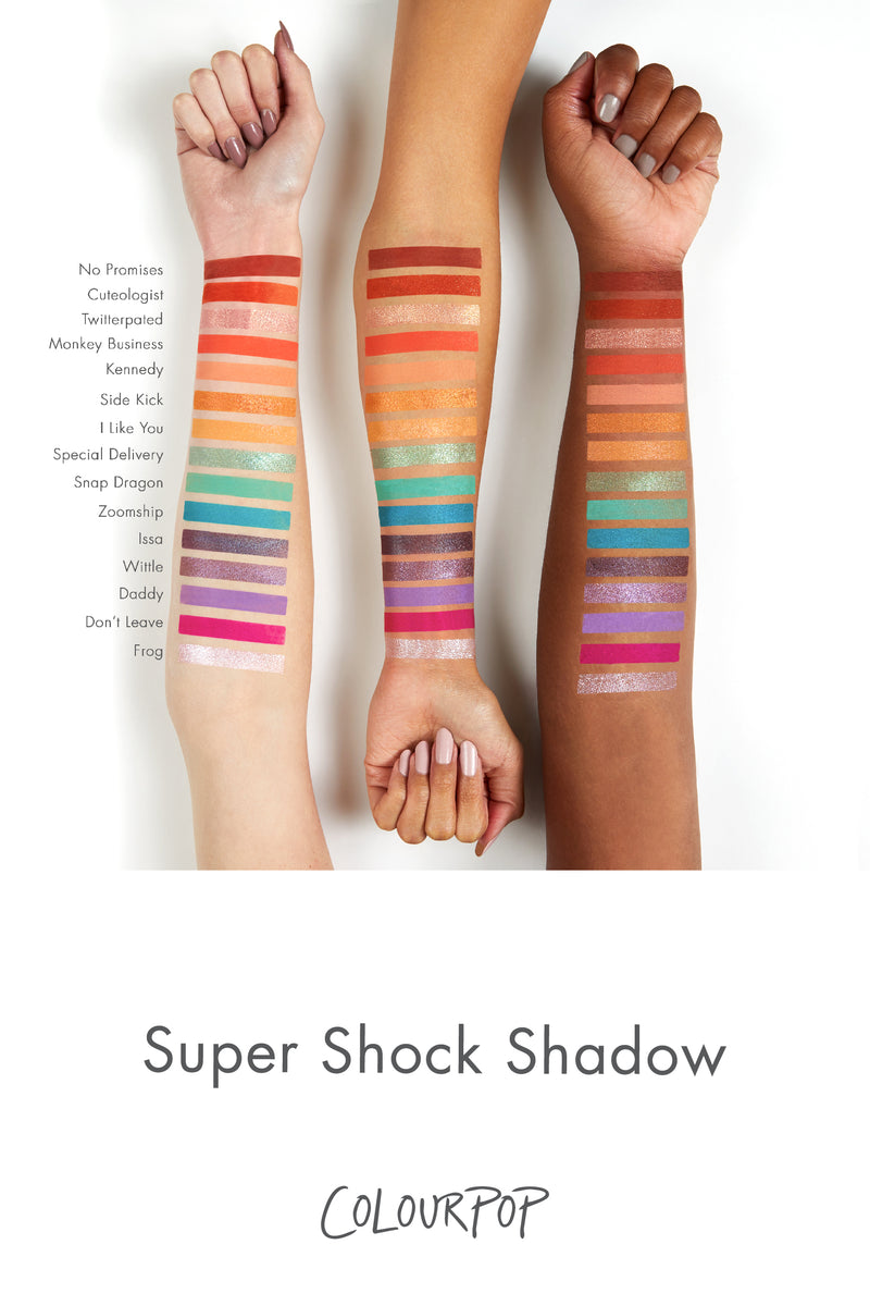 Zoomship matte vibrant sky blue Super Shock eye Shadow arm swatches