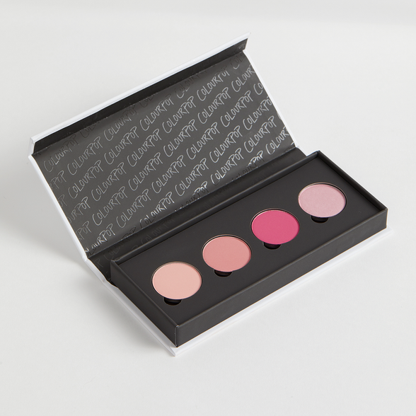 Belle of the Ball includes Secrets matte pale baby pink, Soft Core matte warm pink, Fair Play matte hot pink, and On the Fence metallic frosty pink Pressed Powder eye shadows