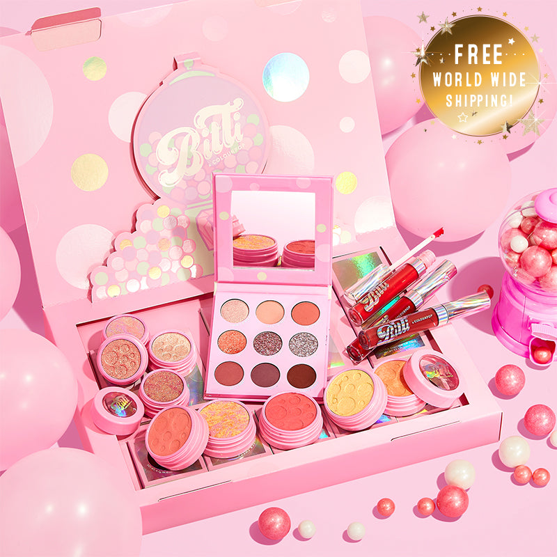 Bitti x ColourPop PR Box Collection Includes the Candy Button Palette, Bitti Pop Super Shock Shadow Foursome, Sweetener Liquid Lip Trio, and all 4 Super Shock Cheeks stylized photo with gum balls