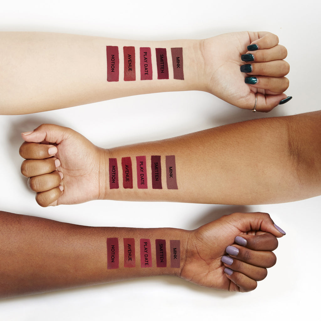 Swatches for our Blues Baby set, which includes Mink, Smitten, Play Date, Avenue, and Notion Ultra Matte Lips