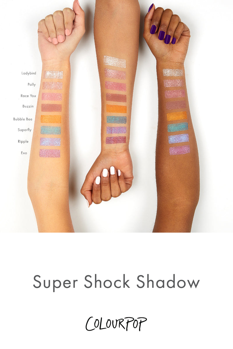 Superfly deep turquoise with green and violet duochrome Super Shock Shadow arm swatches
