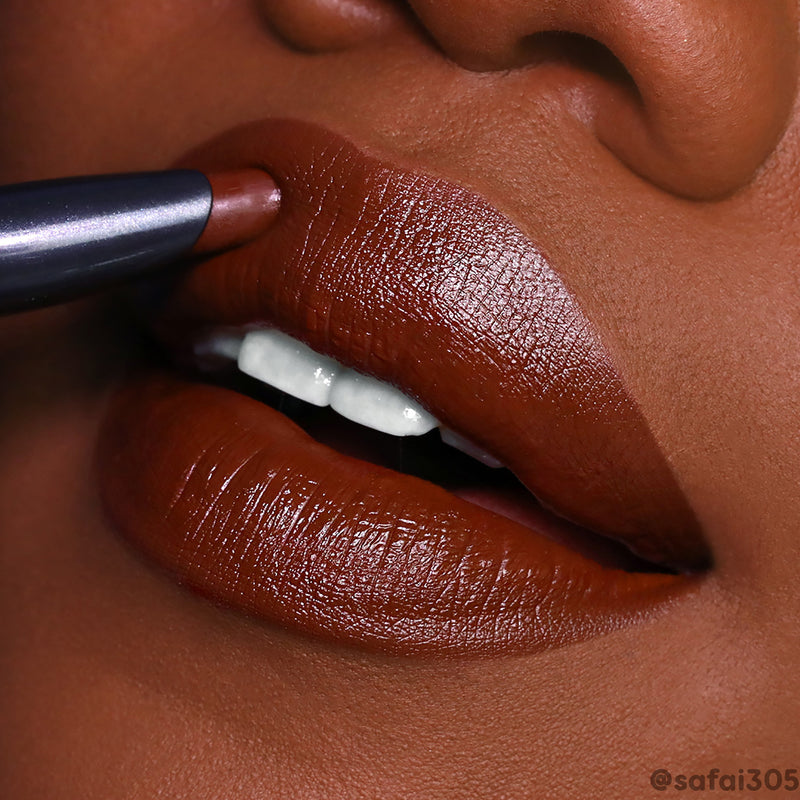 ColourPop Pitch rich chocolate matte brown lip colour stix on @safai305