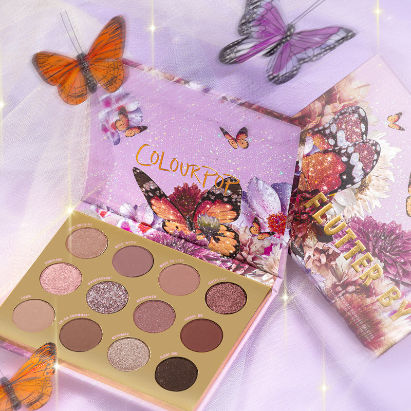Flutter By	is a cool-toned, soft glam eyeshadow palette stylized photo with butterflies