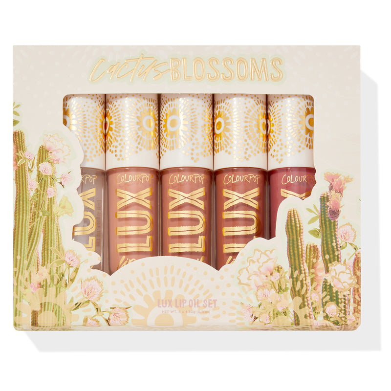 Cactus Blossoms kit includes all 5 of our newest LUX Lip Oil formula