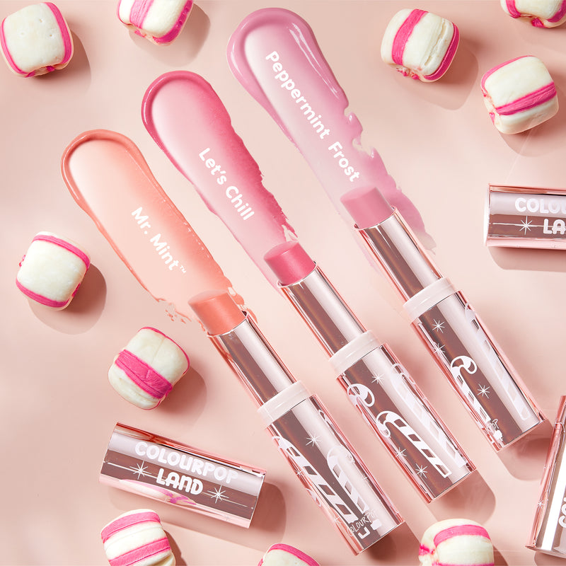 Sweet Escape Candy Land Glowing Lip Balm Set stylized photo with swatches.