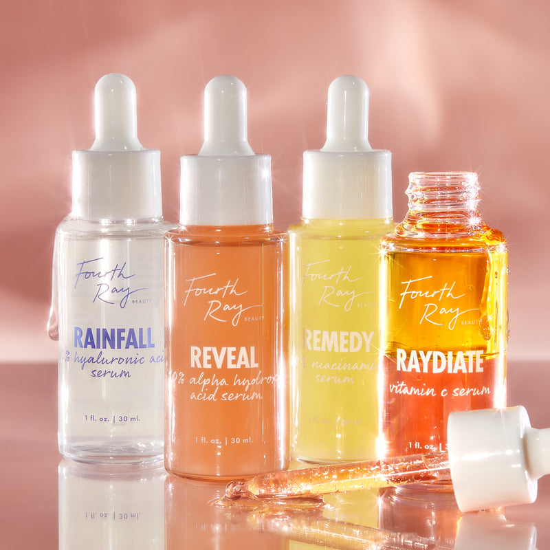 Seriously Good Serums deluxe discovery kit featuring our best-sellers Raydiate, Reveal, Remedy and Rainfall serums