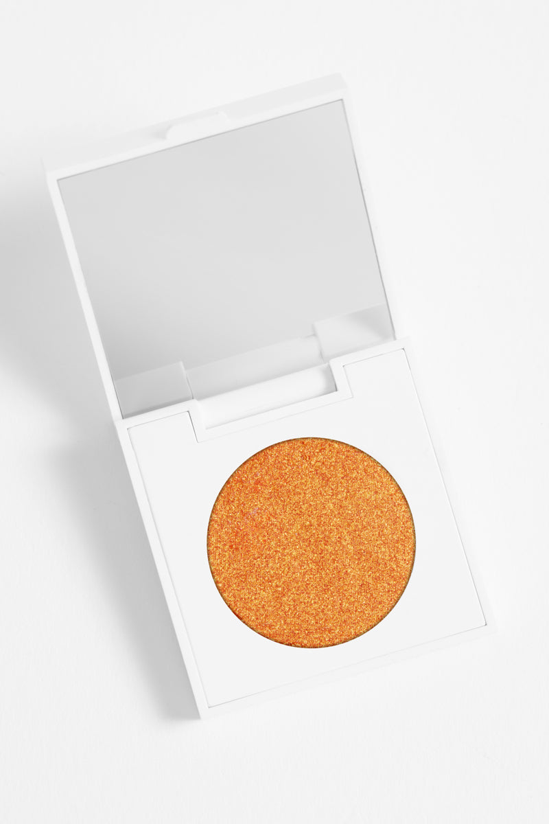Chauffeur metallic duochrome orange and gold Pressed Powder Eyeshadow in compact