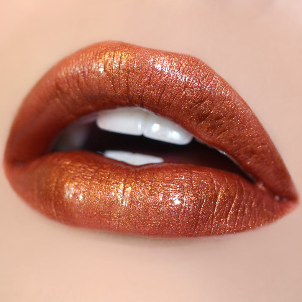 Cheat Code metallic copper Ultra Glossy Lip swatch