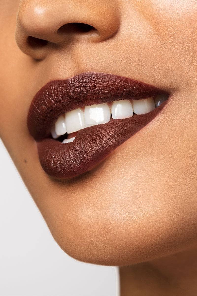 Cloudscape muted chocolate Ultra Matte lipstick lip swatch on model