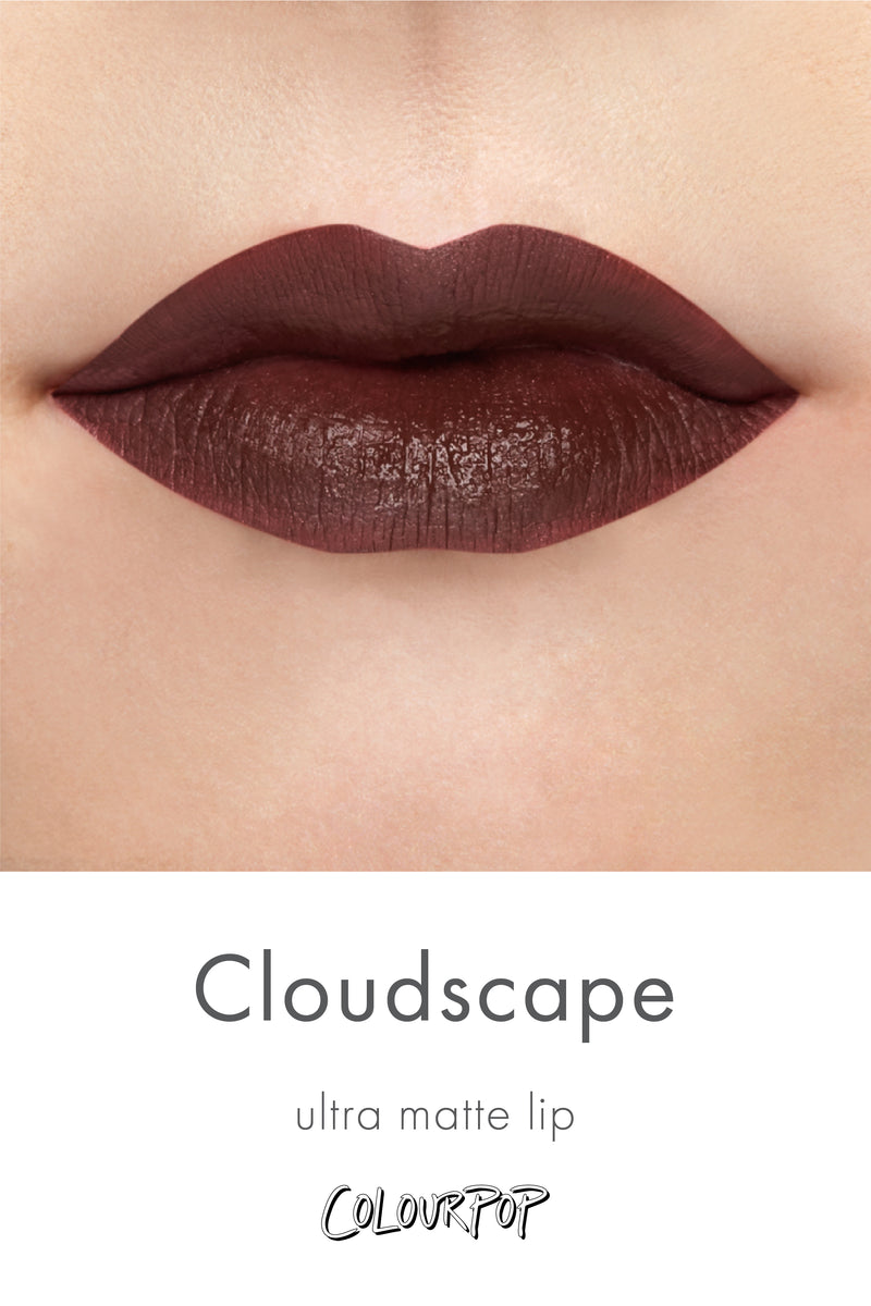 Cloudscape muted chocolate Ultra Matte lipstick swatch on fair skin