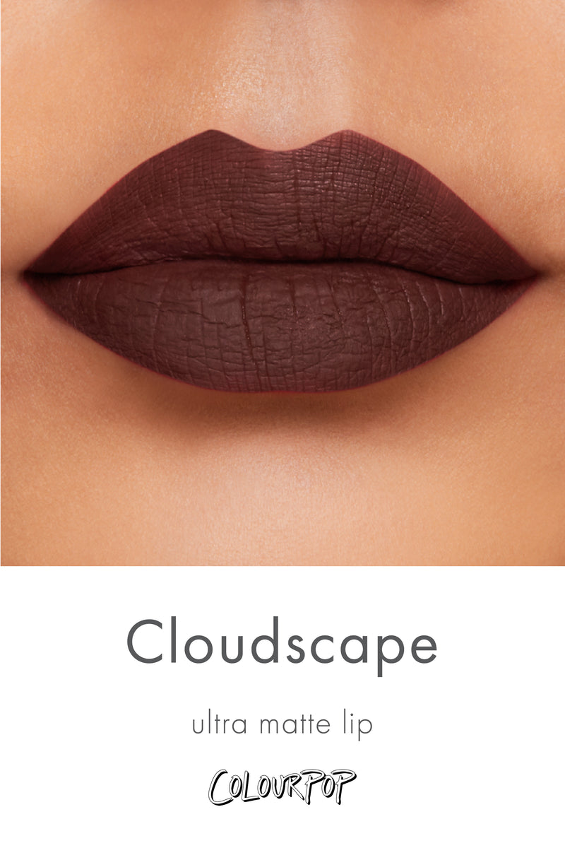 Cloudscape muted chocolate Ultra Matte lipstick swatch on medium skin