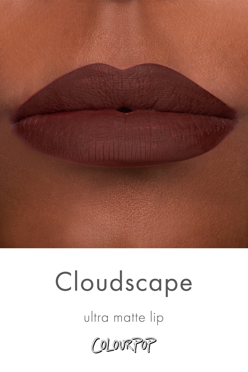 Cloudscape muted chocolate Ultra Matte lipstick swatch on deep skin