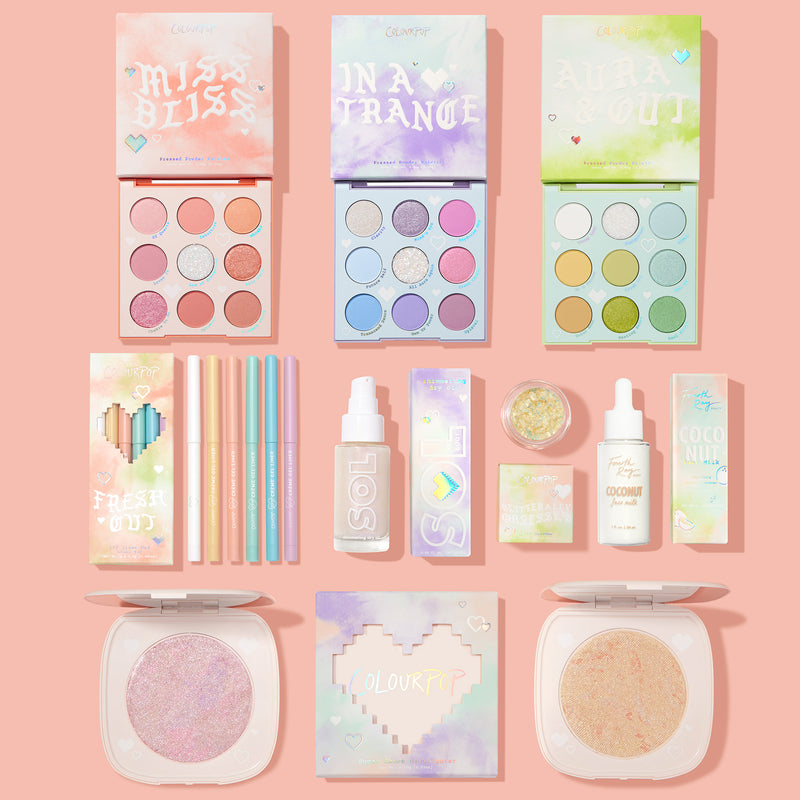Tie Dye Collection includes Cloud Dye Pastel Palette Vault, Fresh Cut Eyeliner Kit, Glam Rock glitter gel, Manifest That Highlighter, You