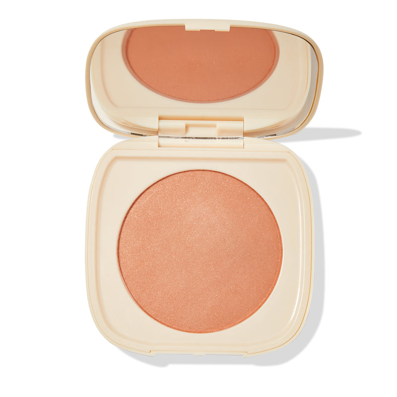Crossroads muted terracotta Pressed Powder Blush  with pinpoints of gold and silver pearl compact with mirror