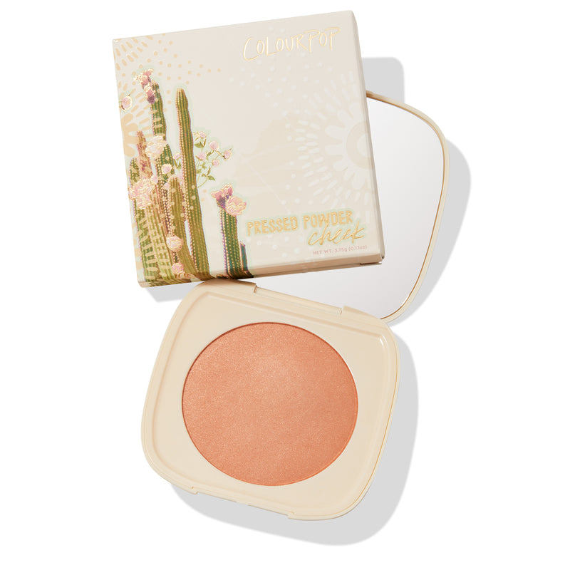 Crossroads muted terracotta Pressed Powder Blush with pinpoints of gold and silver pearl compact with mirror and unit carton
