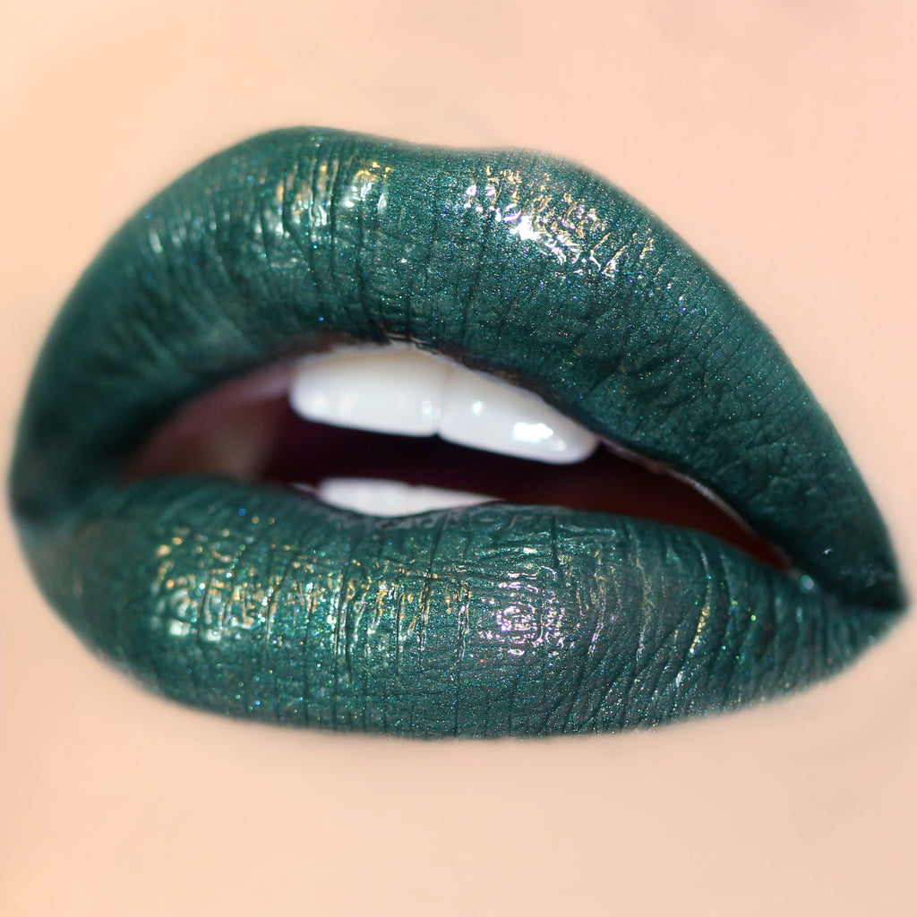 Crystal Ball metallic green Ultra Glossy Lip swatch