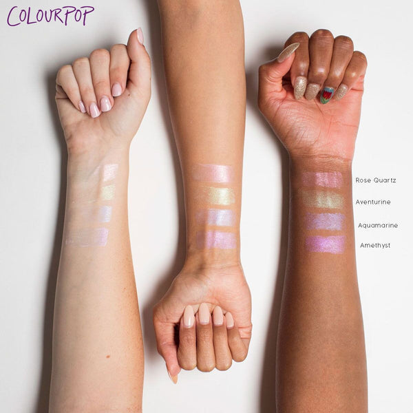 Aquamarine Crystal Lip Balm arm swatches